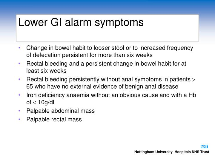 Lower GI alarm symptoms