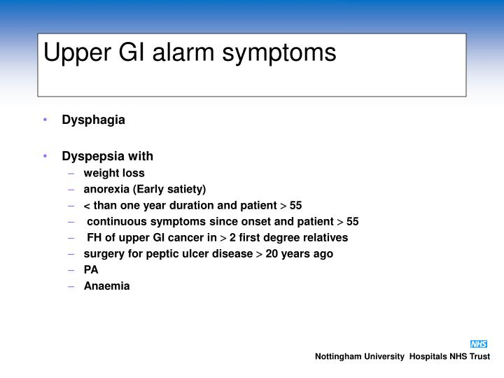 Upper GI alarm symptoms