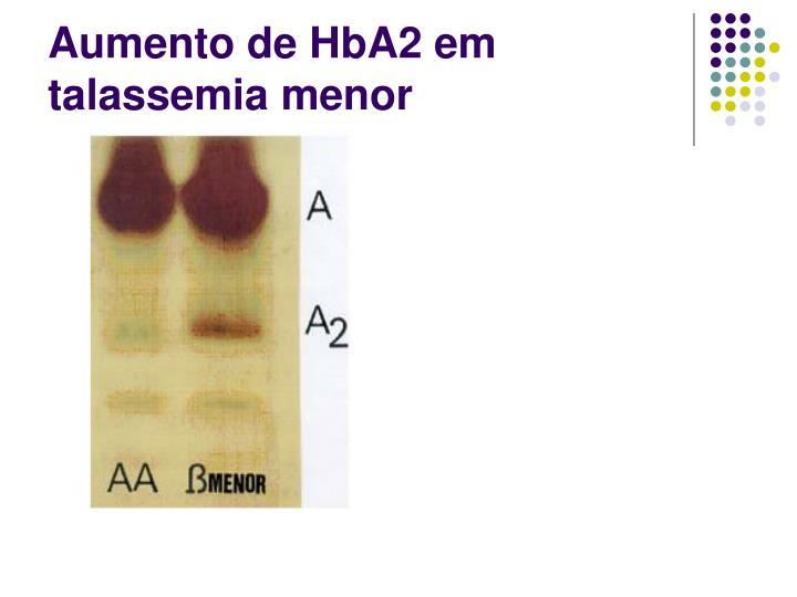 Aumento de HbA2 em talassemia menor