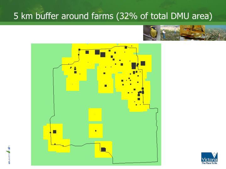 5 km buffer around farms (32% of total DMU area)