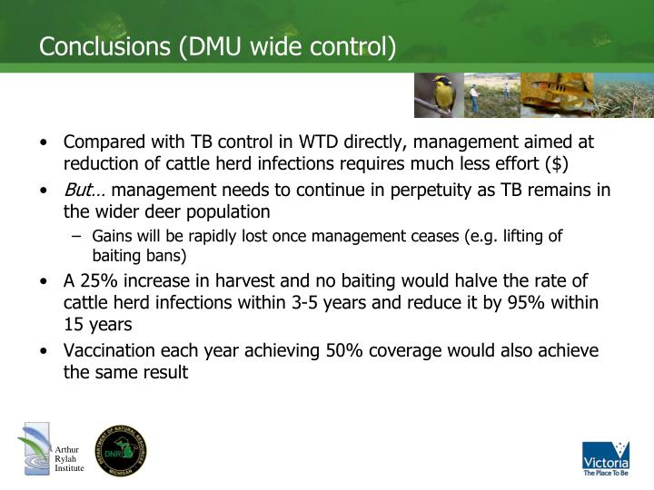 Conclusions (DMU wide control)