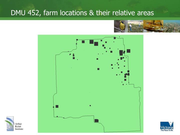 DMU 452, farm locations & their relative areas