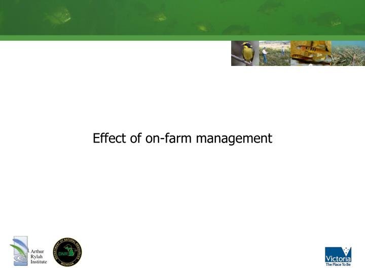 Effect of on-farm management