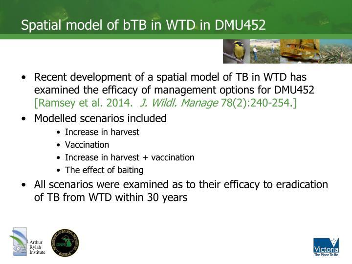 Spatial model of bTB in WTD in DMU452