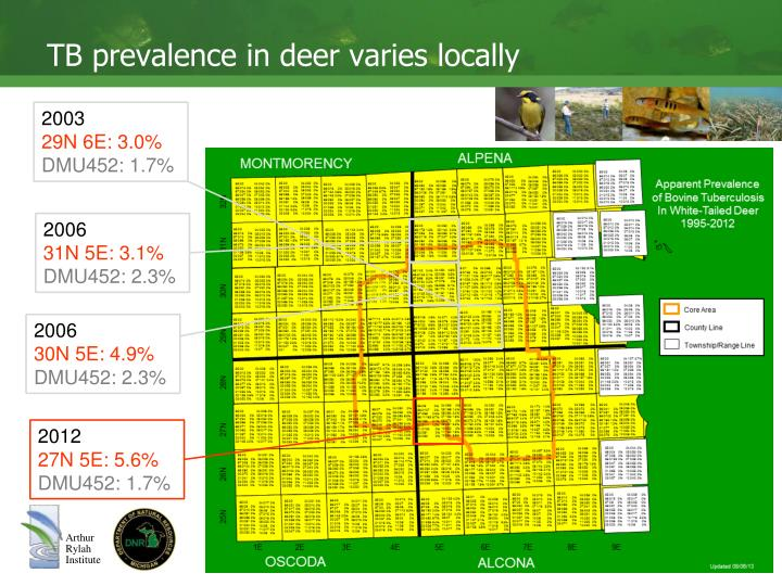 TB prevalence in deer varies locally