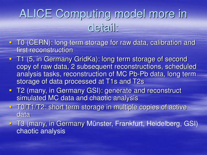 ALICE Computing model more in detail:
