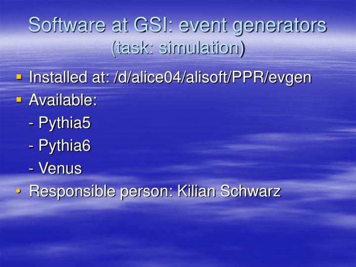 Software at GSI: event generators