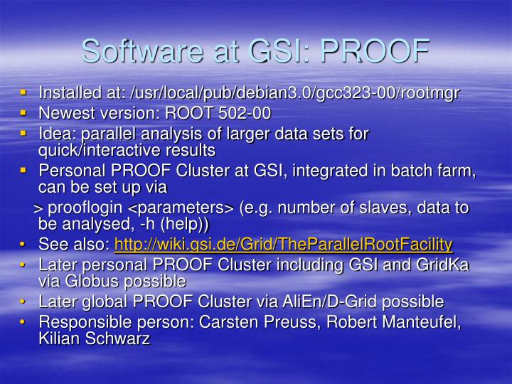 Software at GSI: PROOF