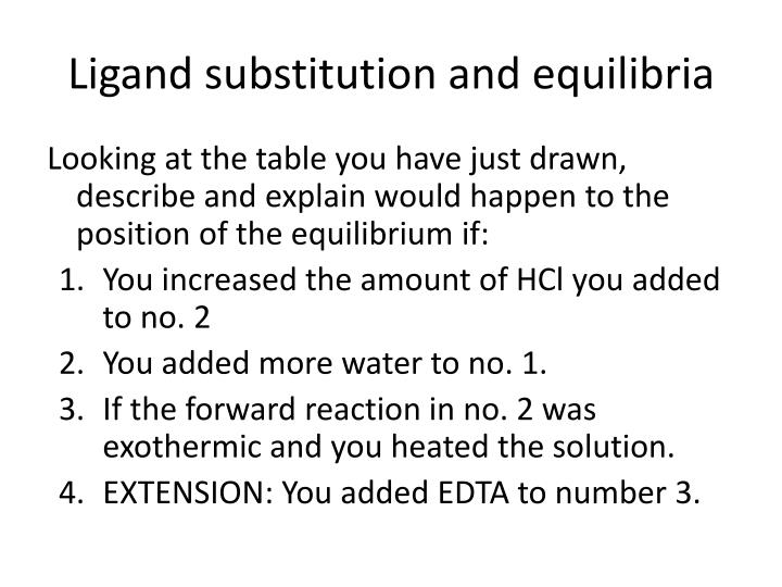 Ligand substitution and equilibria