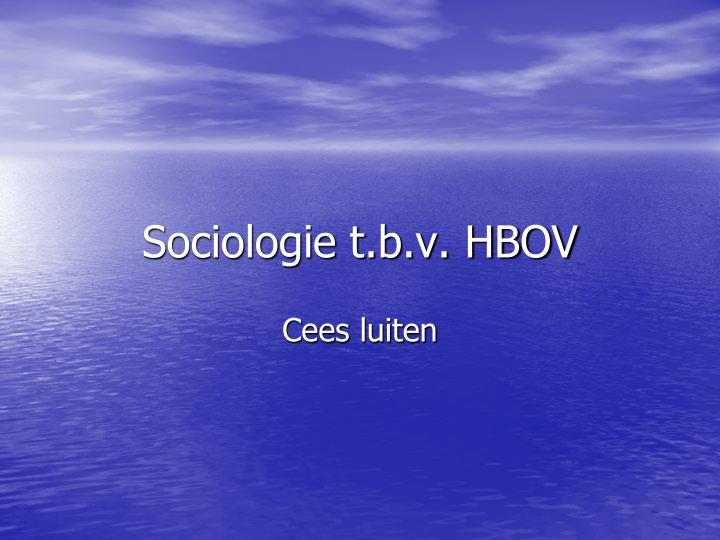 Sociologie t.b.v. HBOV