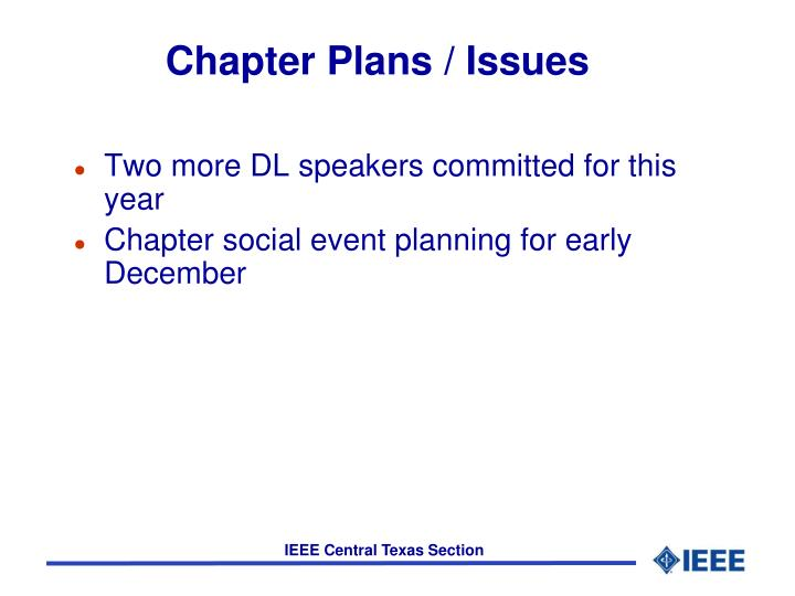 Chapter Plans / Issues