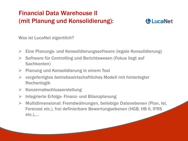 Financial Data Warehouse II                                     (