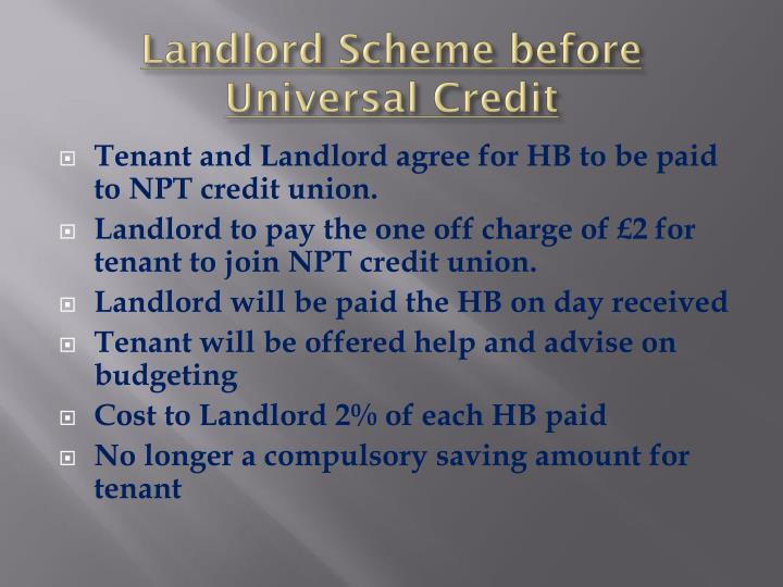 Landlord Scheme before Universal Credit