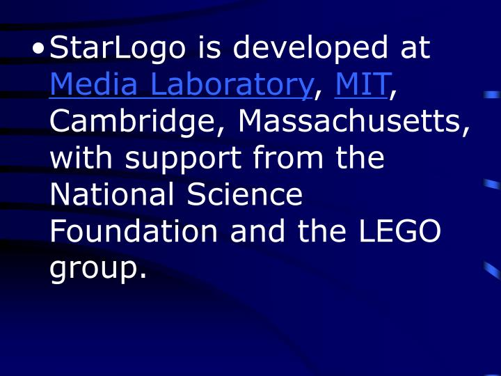 StarLogo is developed at