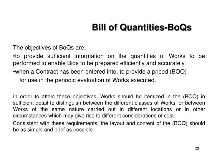 Bill of Quantities-BoQs