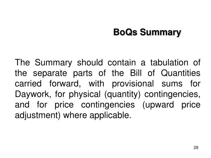 BoQs Summary
