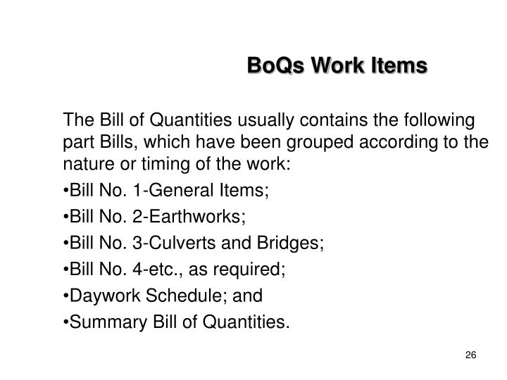BoQs Work Items