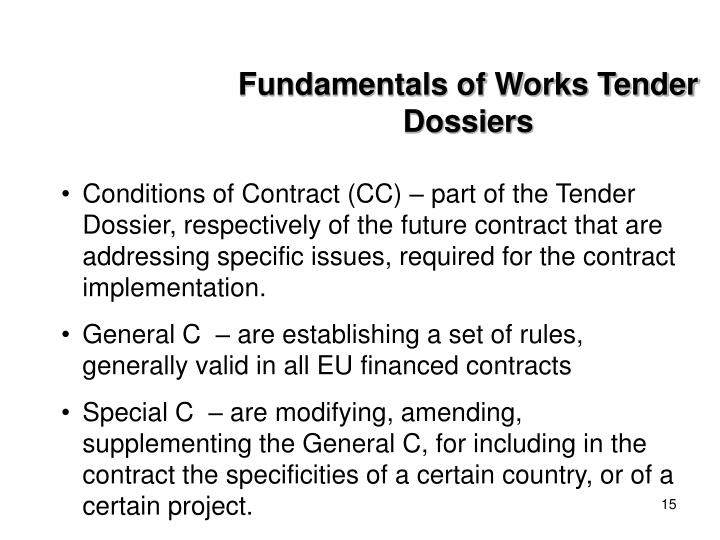 Fundamentals of Works Tender Dossiers