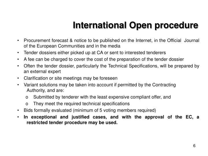 International Open procedure
