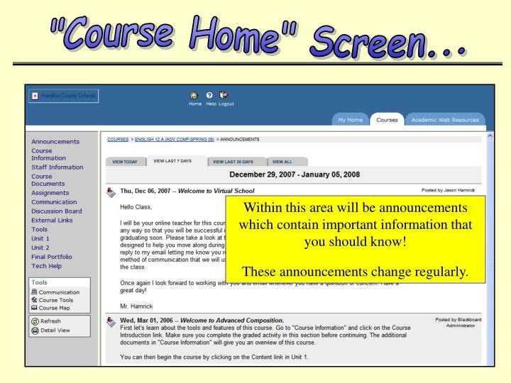 """""""Course Home"""" Screen..."""