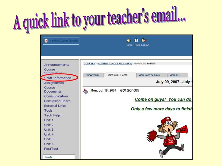A quick link to your teacher's email...