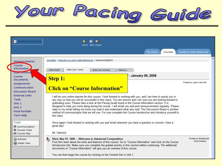 Your Pacing Guide