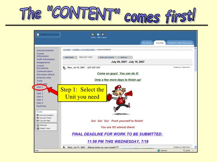 "The ""CONTENT"" comes first!"