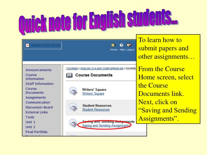 Quick note for English students...