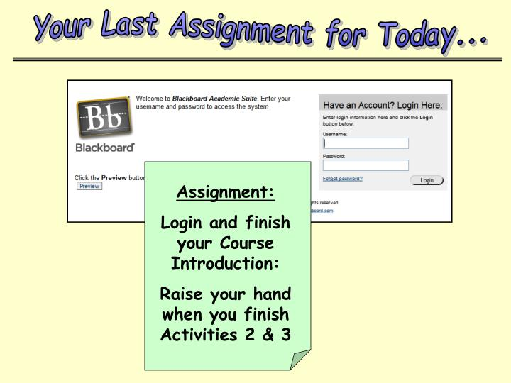 Your Last Assignment for Today...