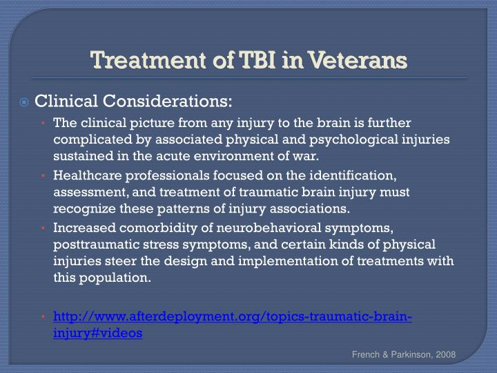 Treatment of TBI in Veterans