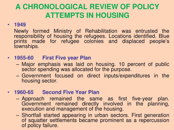 A CHRONOLOGICAL REVIEW OF POLICY