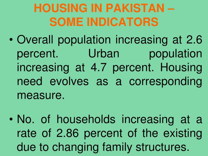 HOUSING IN PAKISTAN –