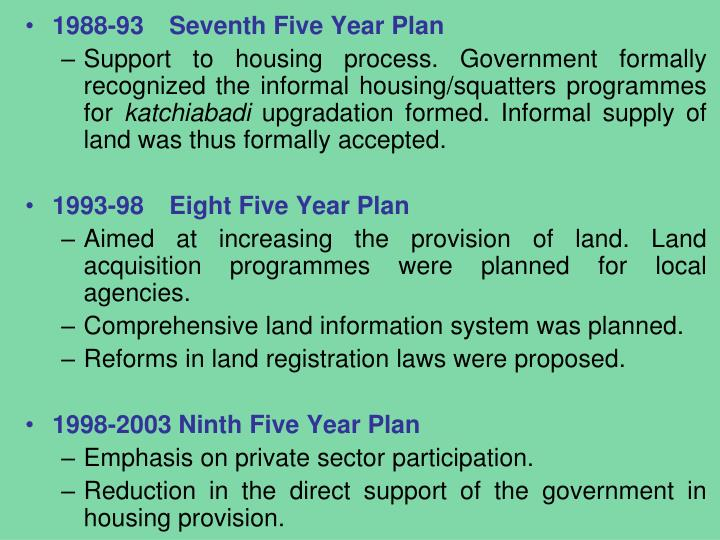 1988-93Seventh Five Year Plan