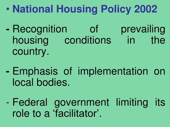National Housing Policy 2002