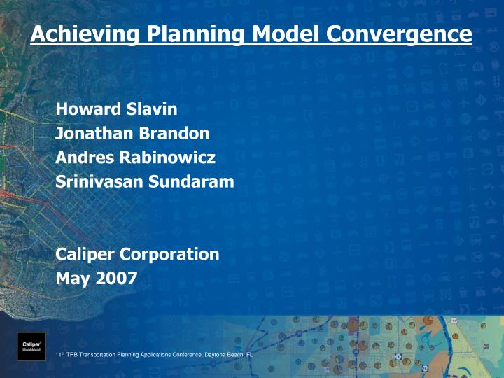 Achieving Planning Model Convergence