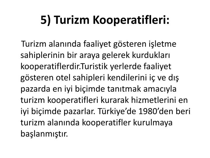 5) Turizm Kooperatifleri: