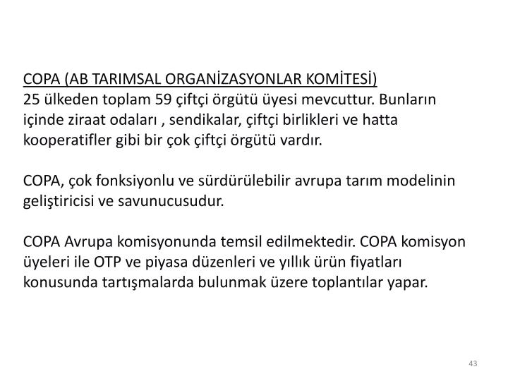 COPA (AB TARIMSAL ORGANZASYONLAR KOMTES)
