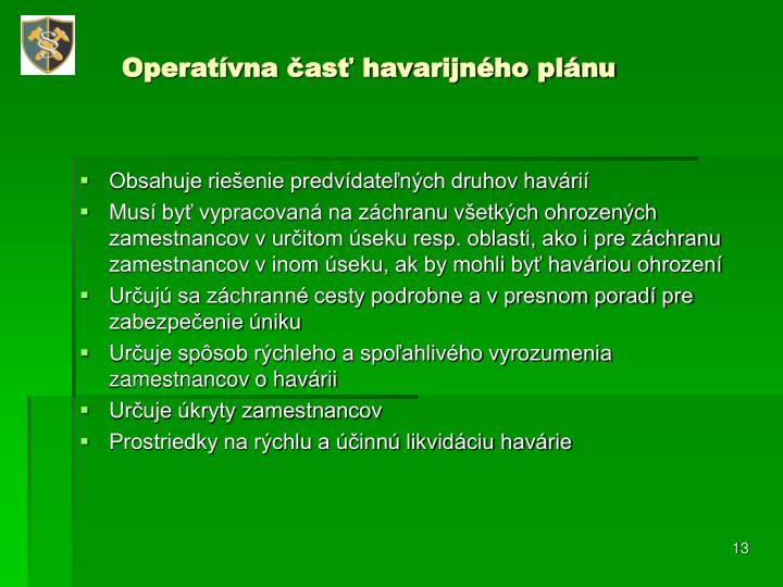 Operatívna časť havarijného plánu