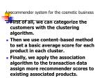 a recommender system for the cosmetic business