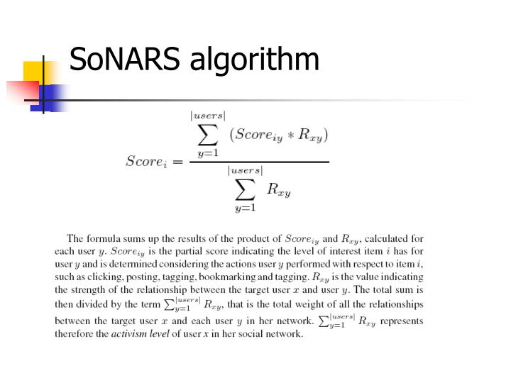 SoNARS algorithm