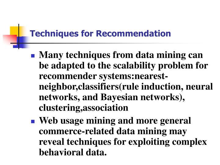Techniques for Recommendation