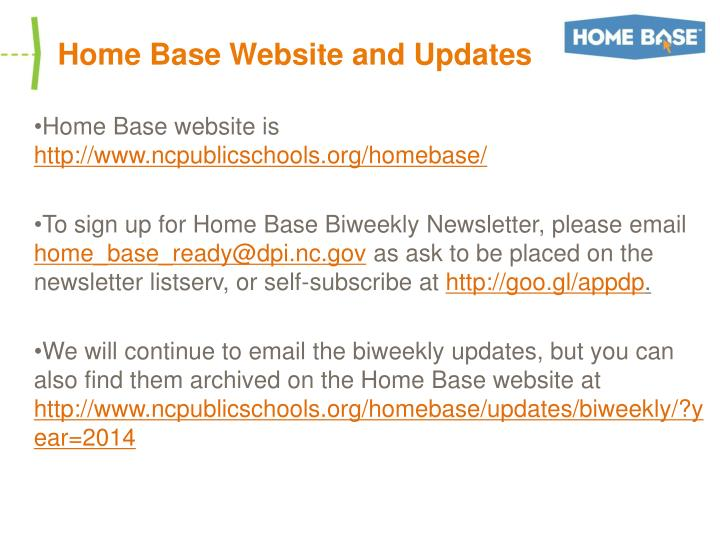 Home Base Website and Updates