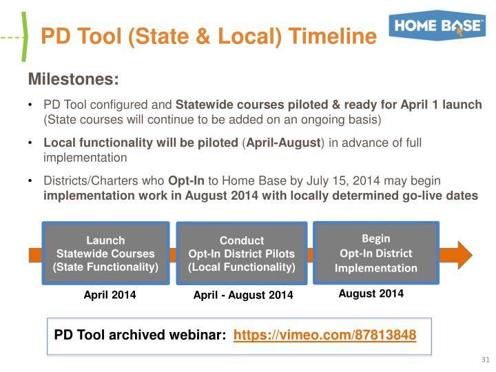 PD Tool (State & Local) Timeline