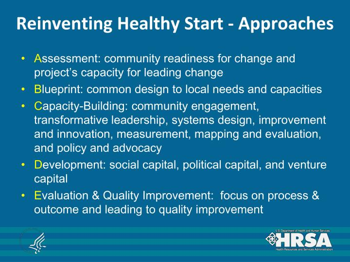 Reinventing Healthy Start - Approaches