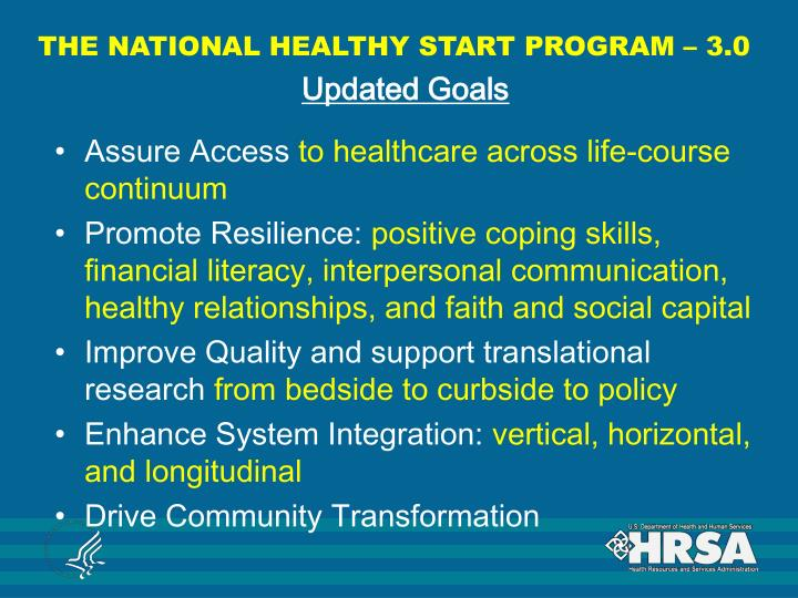 THE NATIONAL HEALTHY START PROGRAM – 3.0