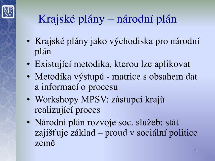 Krajské plány – národní plán