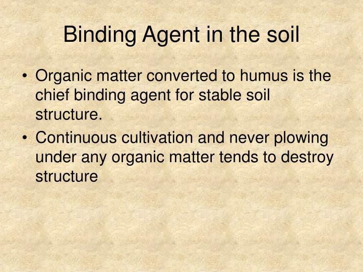 Binding Agent in the soil