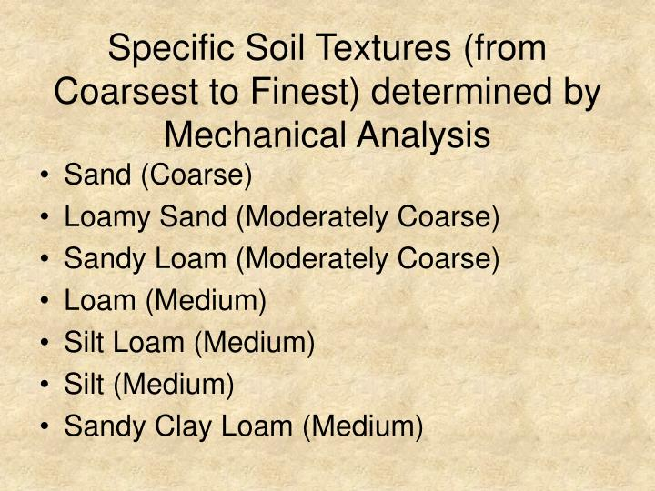 Specific Soil Textures (from Coarsest to Finest) determined by Mechanical Analysis