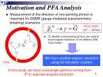 motivation and pfa analysis