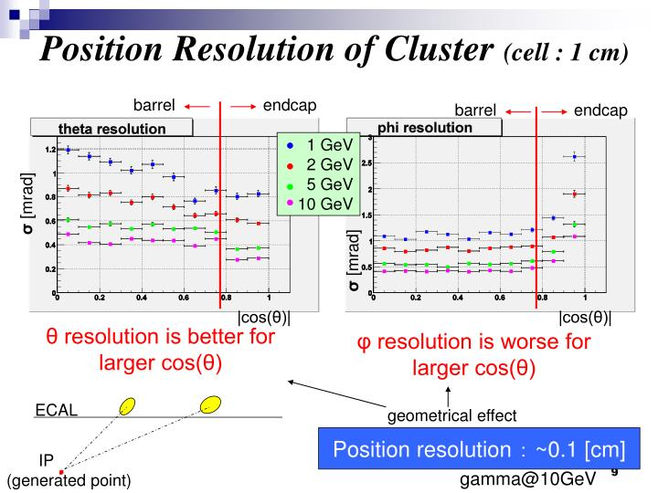 Position Resolution of Cluster
